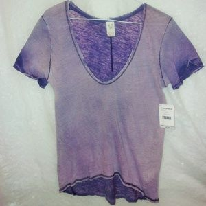 We The Free Free People Two Toned Purple Blouse XS